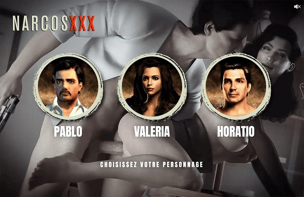 écran de sélection des personnages du jeu narcos XXX