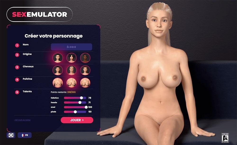 écran de personnalisation du personnage dans le jeu sex emulator