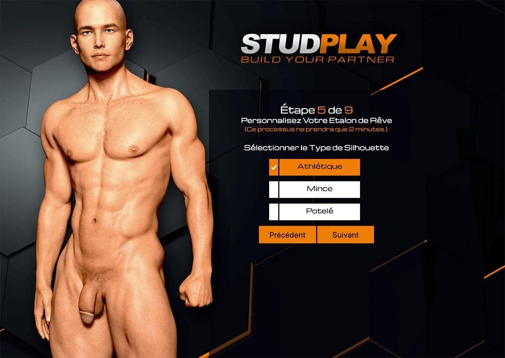 Choix du type de silhouette dans le jeu porno gay Stud Game