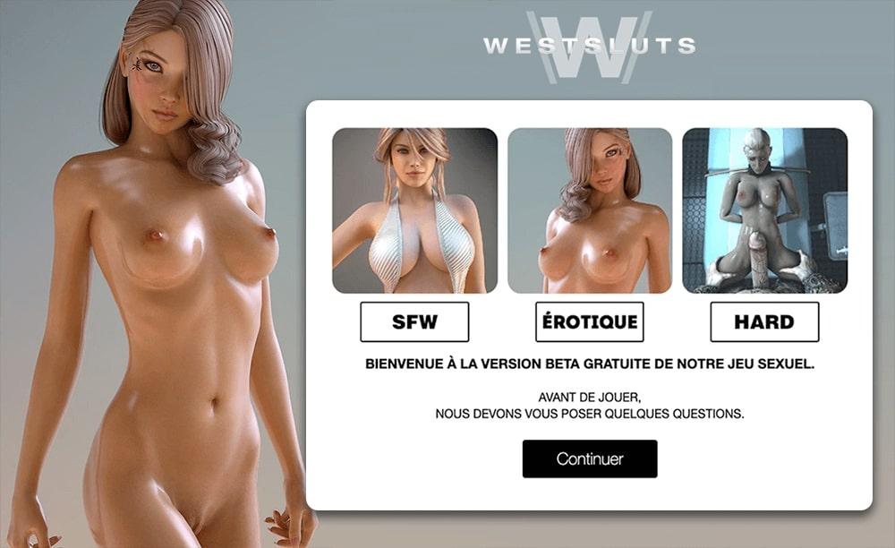 sélection du type de scénario dans le jeu West Sluts